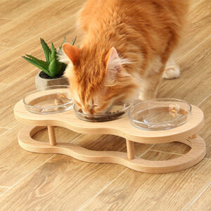 Hatata Pets 3-Bowl Pet Feeding Station with Wooden Stand