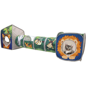 Kitty City Jungle Collapsible Cat Cube, Bed, and Tunnel Combo