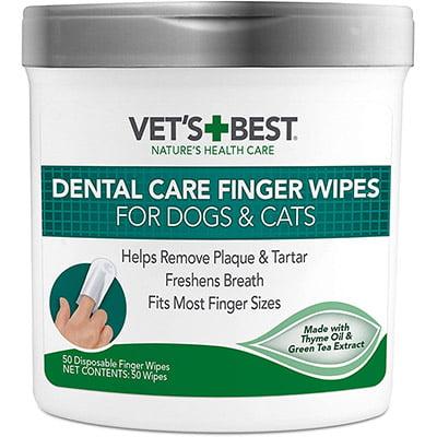 Vet's Best Dental Care Finger Wipes for Cats & Dogs