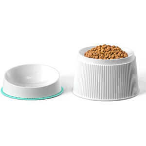 uahpet Removable Elevated Cat Food Bowl with Non-Slip Silicone Pet Mat