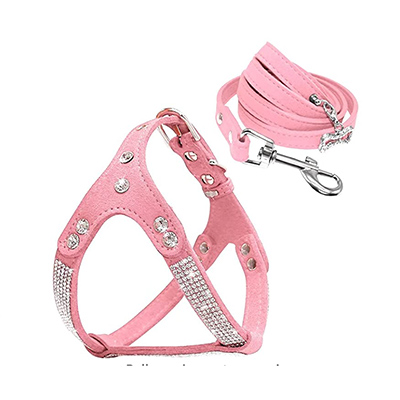 Beirui Suede and Rhinestone Cat Harness and Leash Set