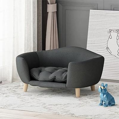 Cauthen Mid-Century Plush Cat and Dog Sofa