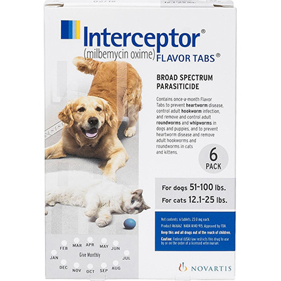 Interceptor Chewable Deworming Medication Tablet for Dogs and Cats