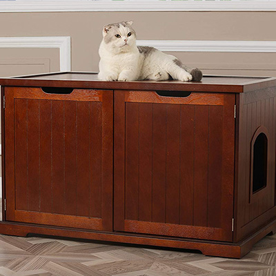 Merry Products Cat Washroom Bench Litter Box Cover with Storage
