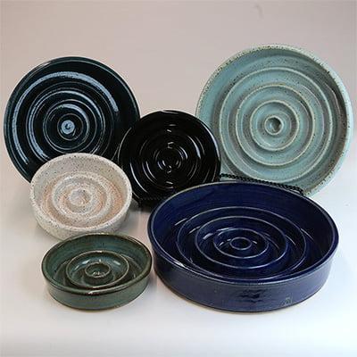 Susan O Hanlon Pottery Ceramic Slow Feeder Pet Bowl